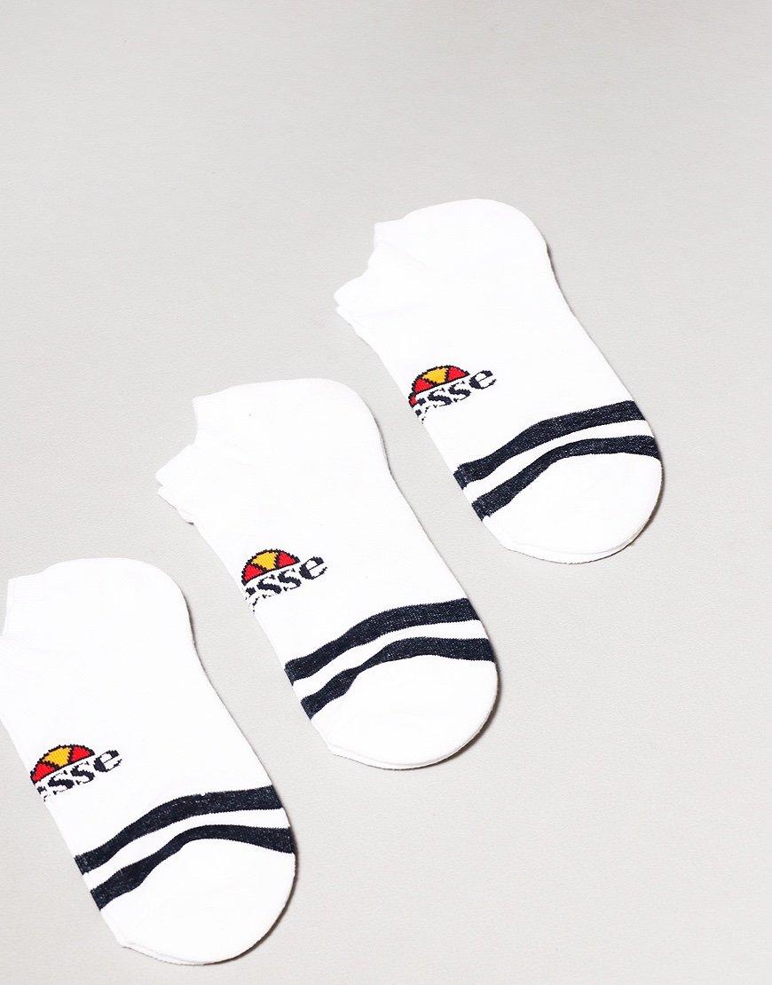 Ellesse Melna 3 Pack Trainer Socks White