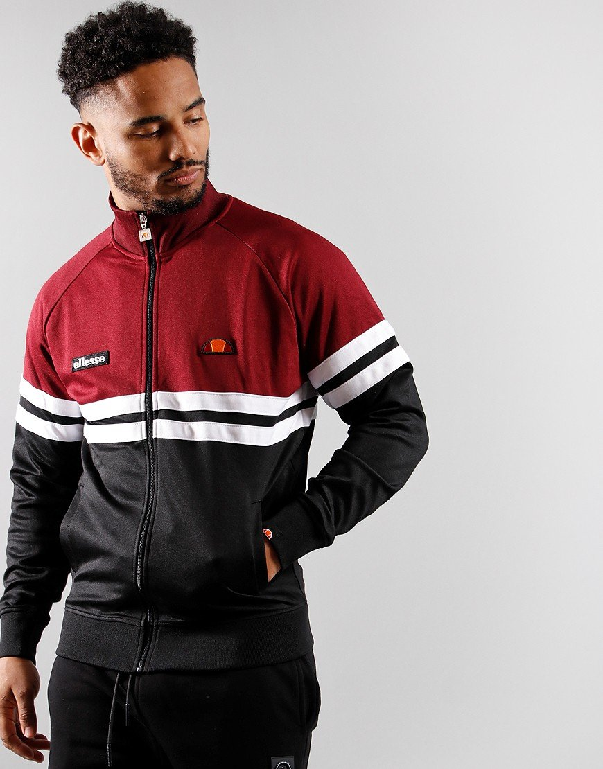 Ellesse Rimini Track Top Black/Burgundy