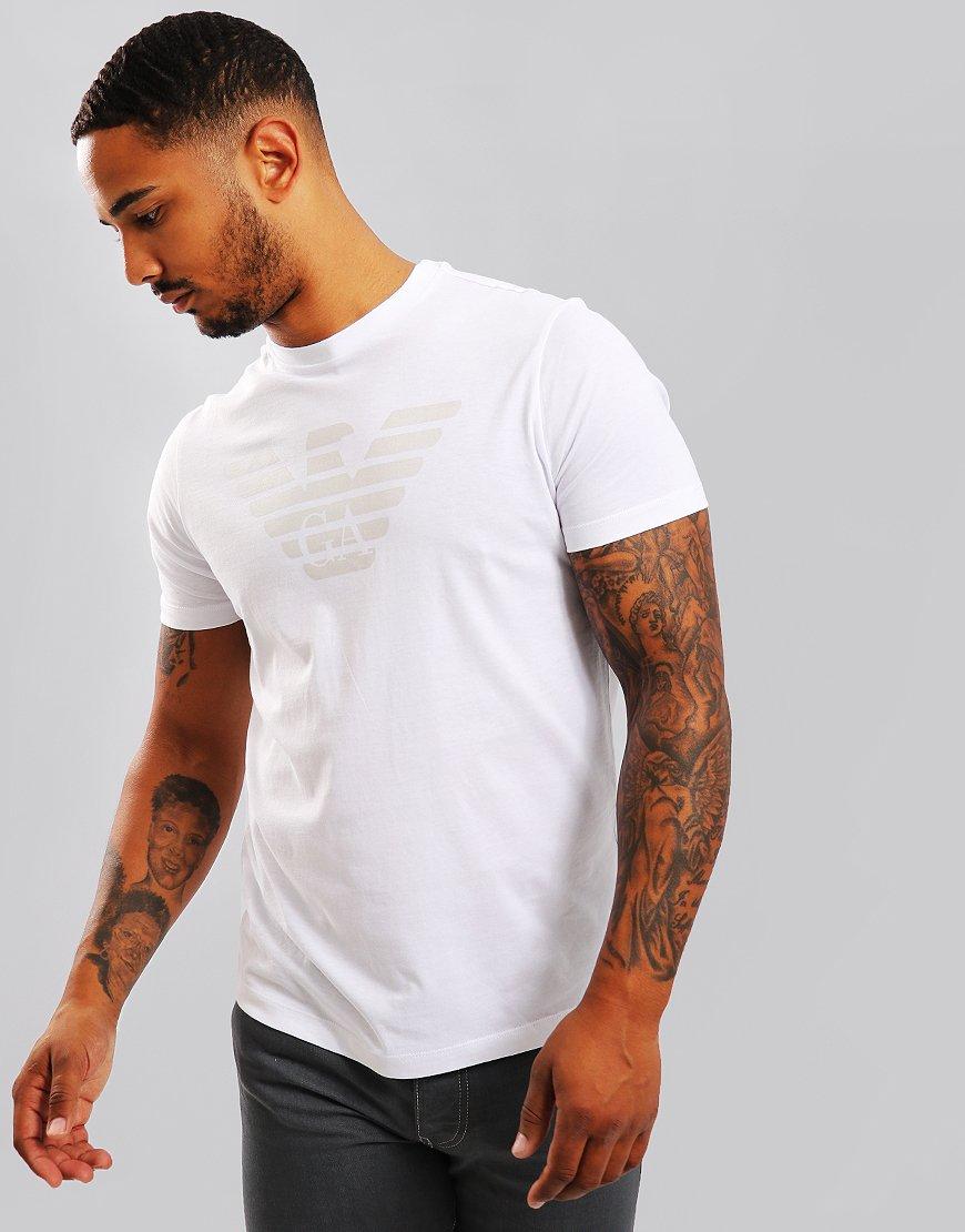 Emporio Armani Front & Back Eagle Print T-Shirt White