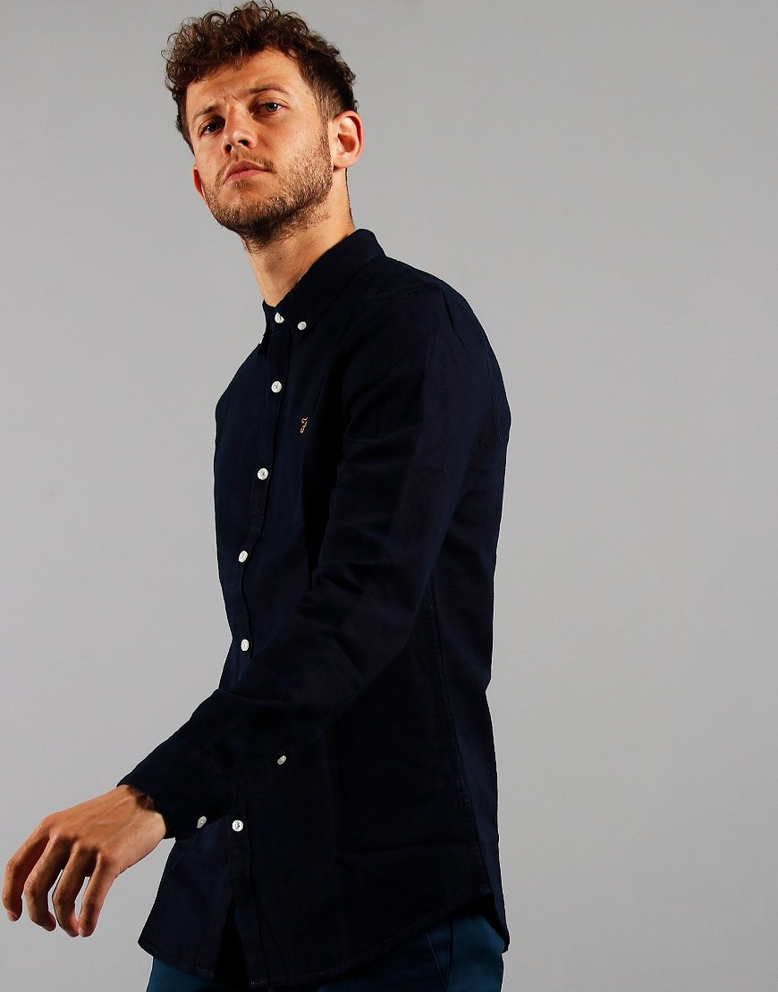Farah Long Sleeve Brewer Shirt Mid Indigo