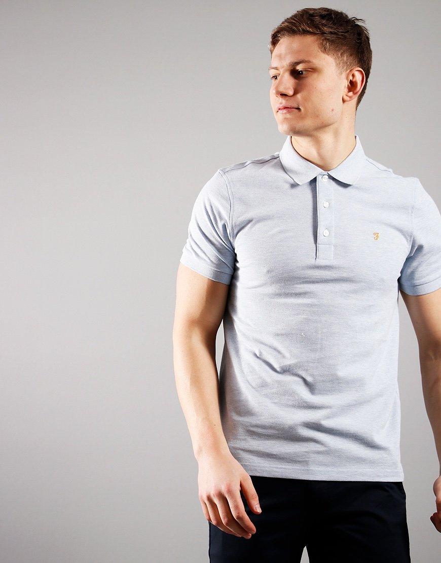 Farah Blanes Polo Shirt Blue Nickel Marl