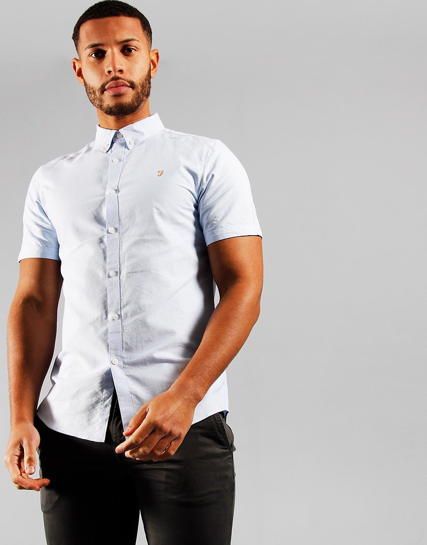 Farah Brewer Slim Fit Shirt Sky Blue