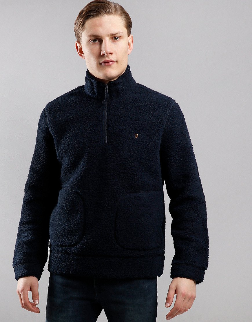 Farah Briars Zip Neck Fleece Sweat True Navy