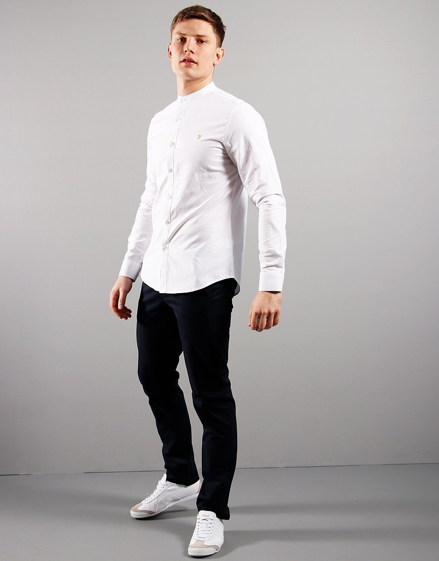 Farah Brewer Slim Grandad Shirt White