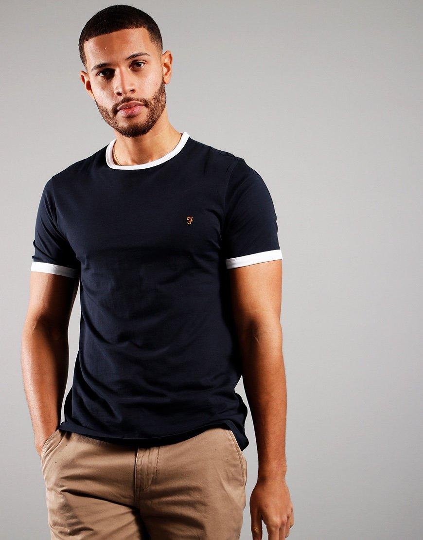 Farah Groves Ringer T-Shirt True Navy