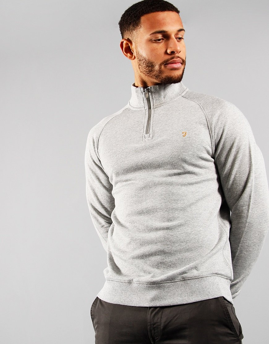 Farah Jim Quarter Zip Sweat Light Grey