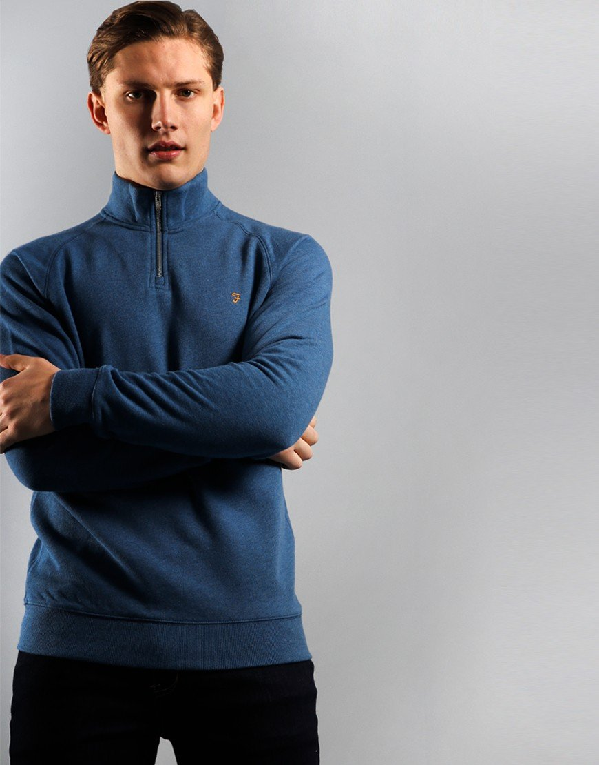Farah Jim Quarter Zip Sweat Dusky Blue
