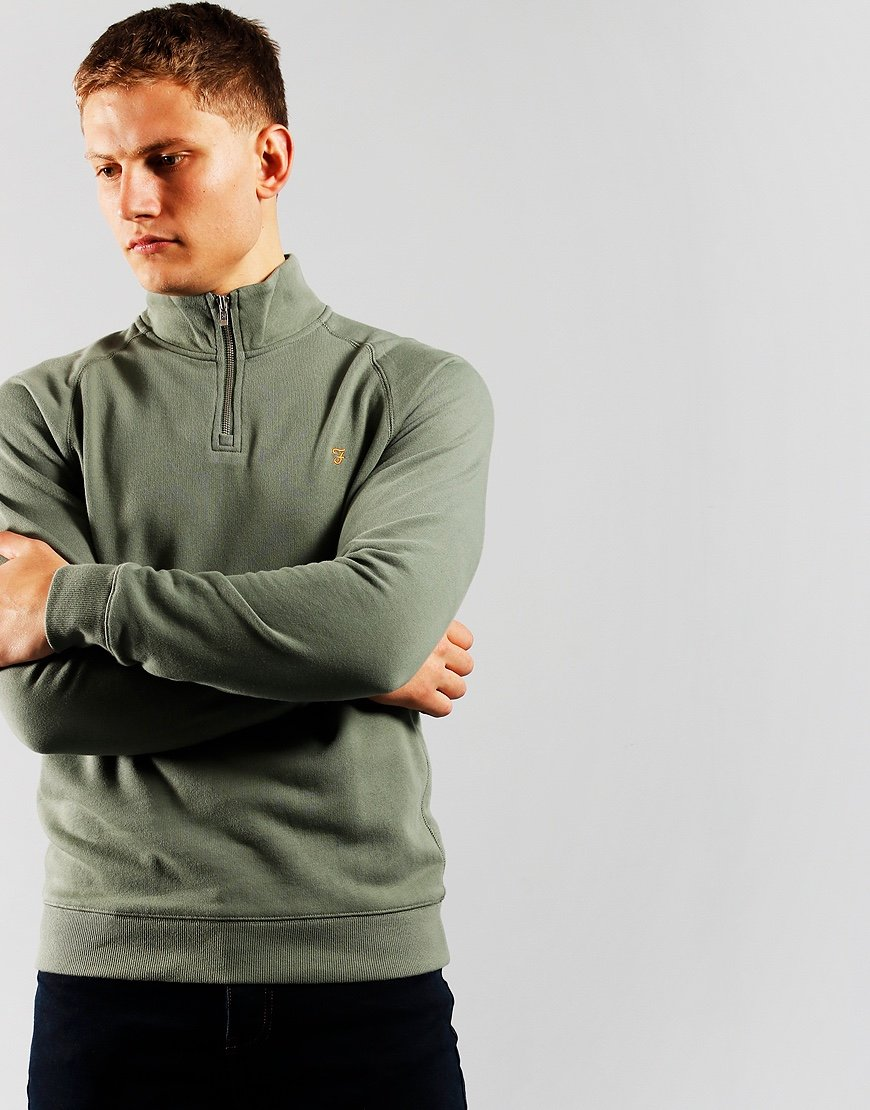 Farah Jim Quarter Zip Sweat Fern Green