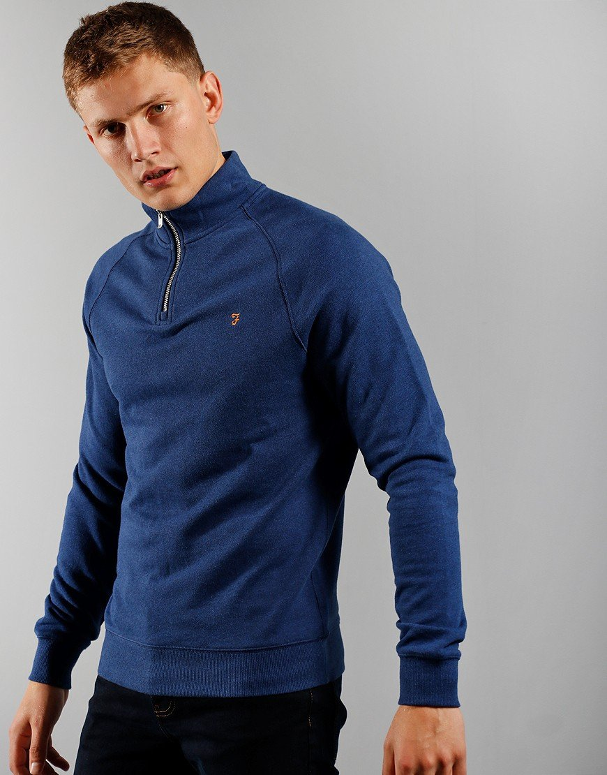 Farah Jim Quarter Zip Sweat Ultramarine