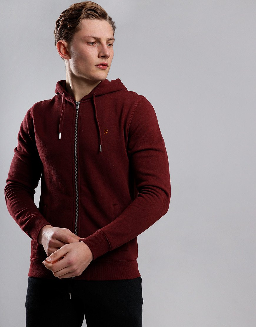 Farah Kyle Hooded Zip Through Sweat Farah Red