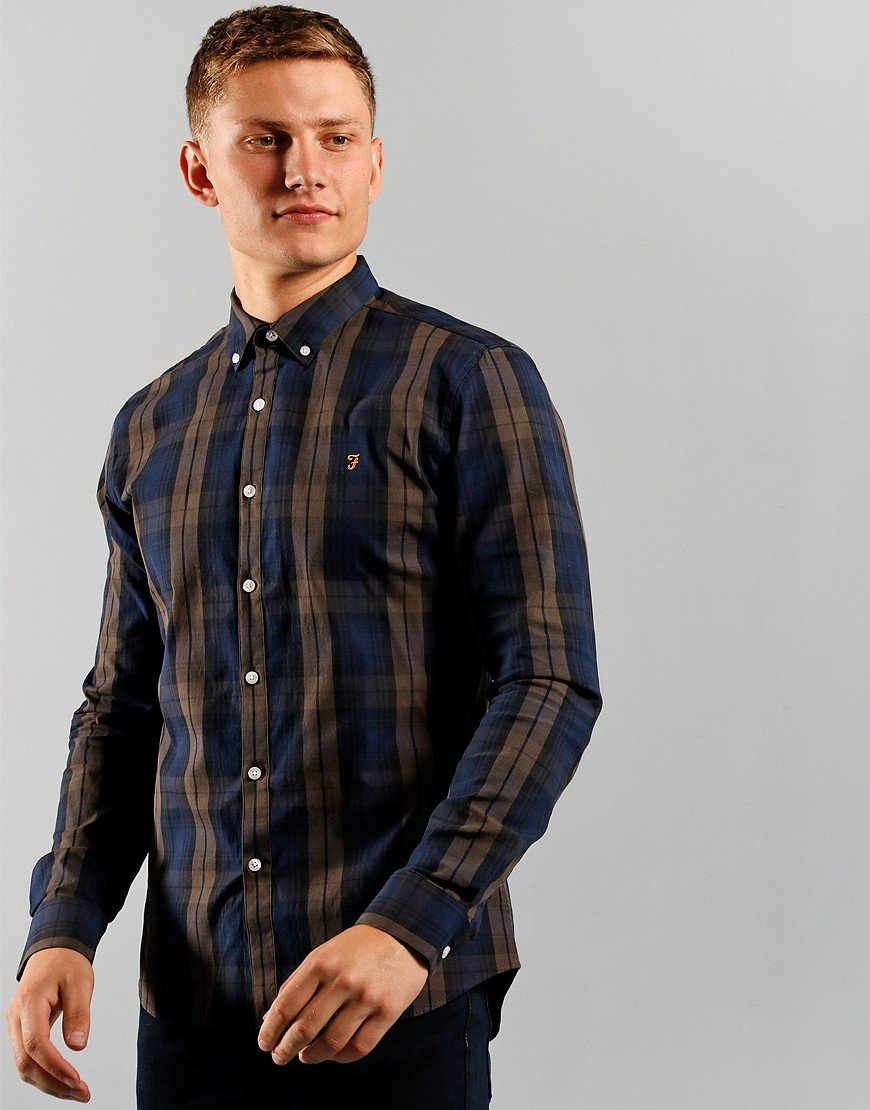 Farah Long Sleeve Brewer Shirt Rich Grey
