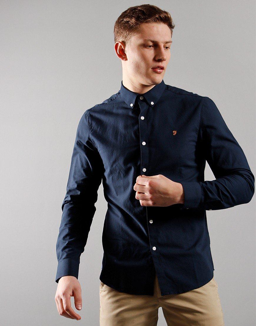 Farah Brewer Long Sleeve Shirt Navy
