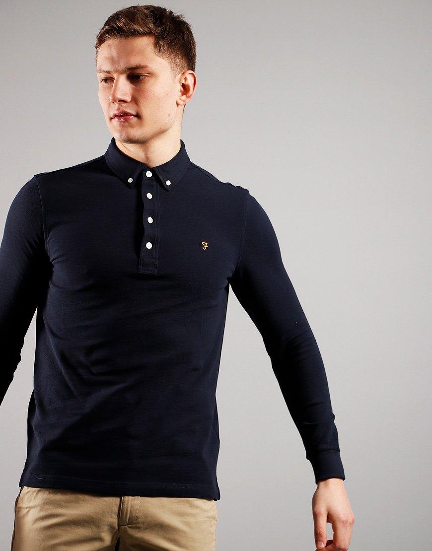 Farah Long Sleeve Ricky Polo Shirt True Navy