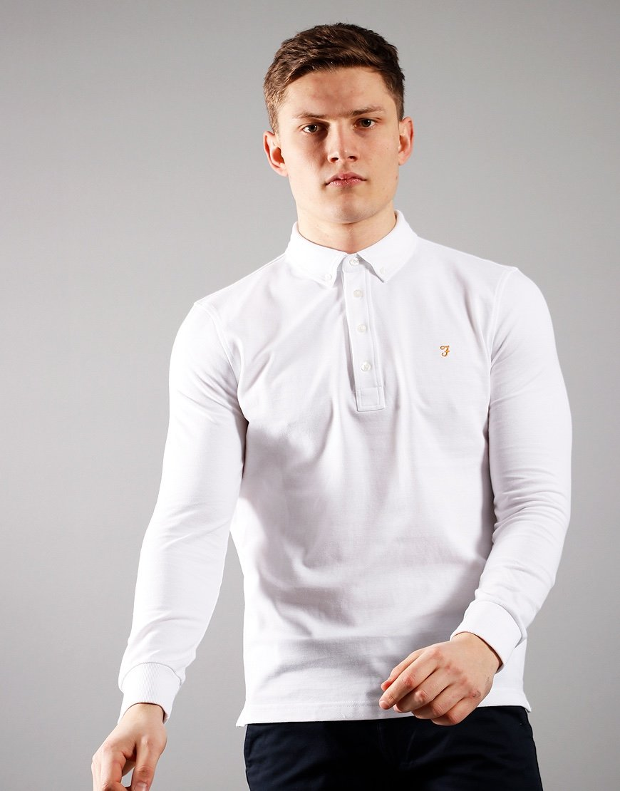 Farah Long Sleeve Ricky Polo Shirt White