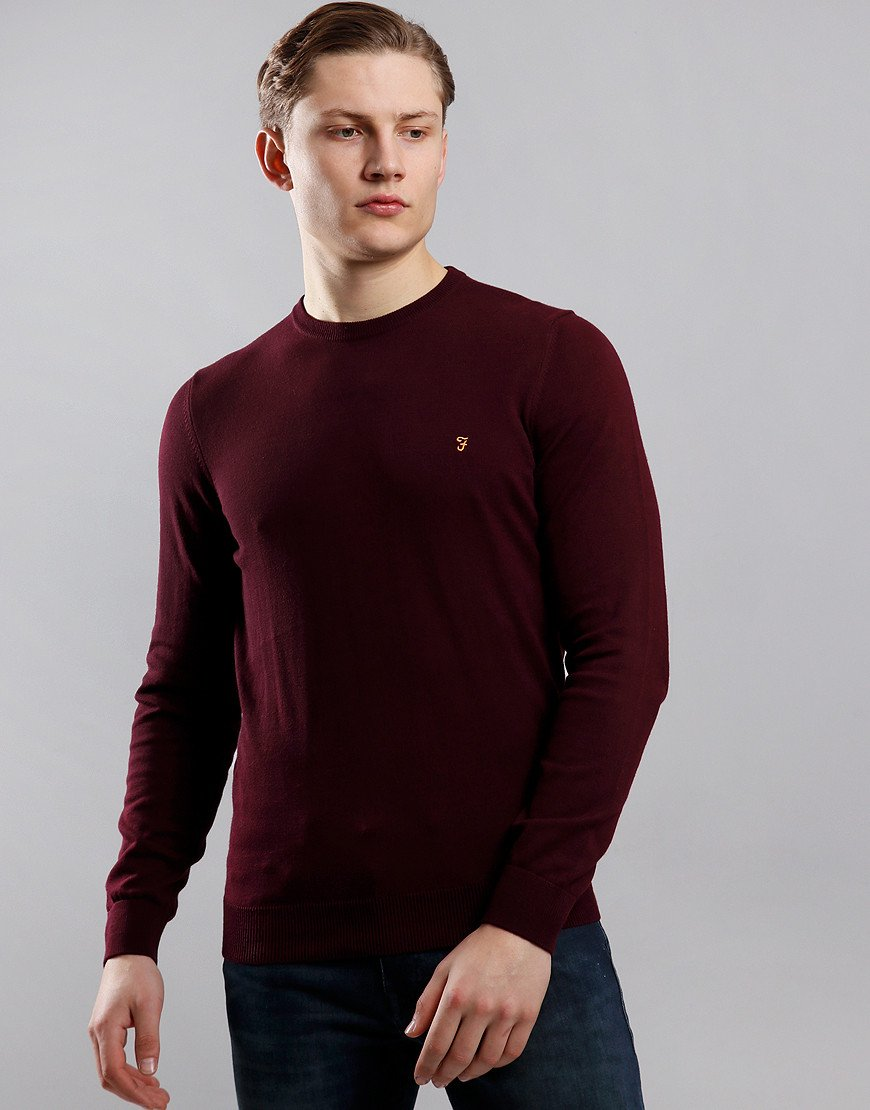 Farah Mullen Crew Neck Knit Farah Red