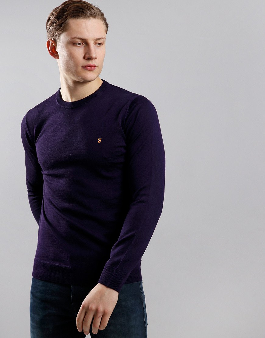Farah Mullen Crew Neck Knit Raisin