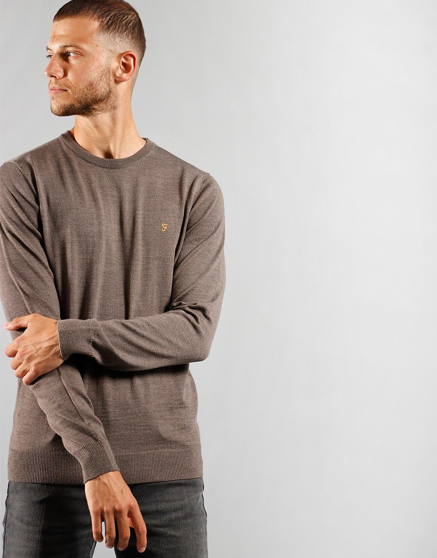 Farah Mullen Cotton Crew Knit Rich Grey