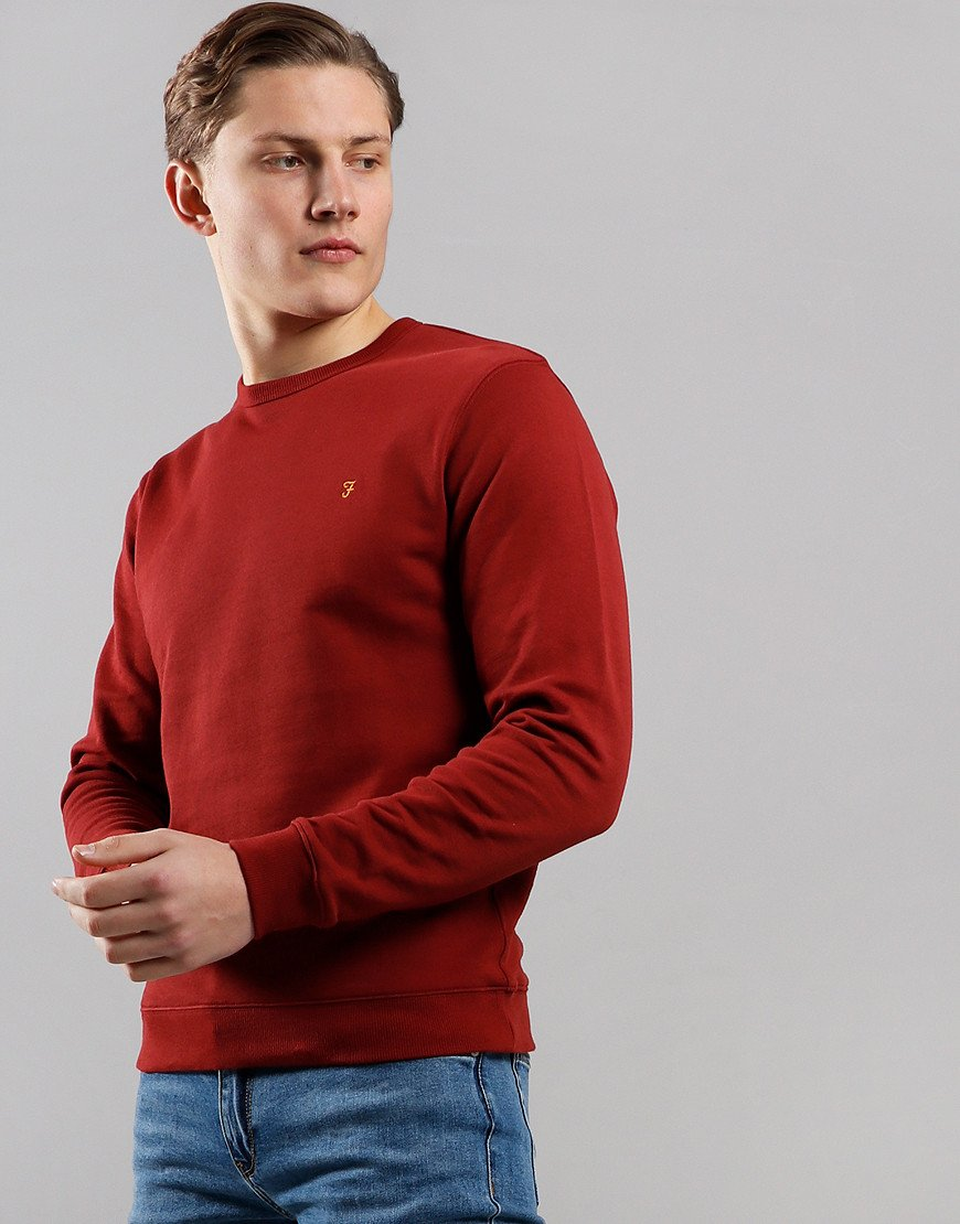 Farah Pickwell Garment Dyed Sweat Burnt Red