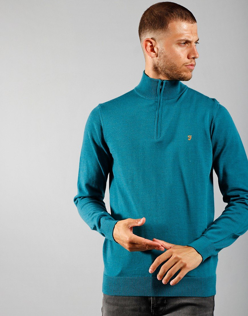Farah Redchurch Half Zip Knit Rich Turquoise