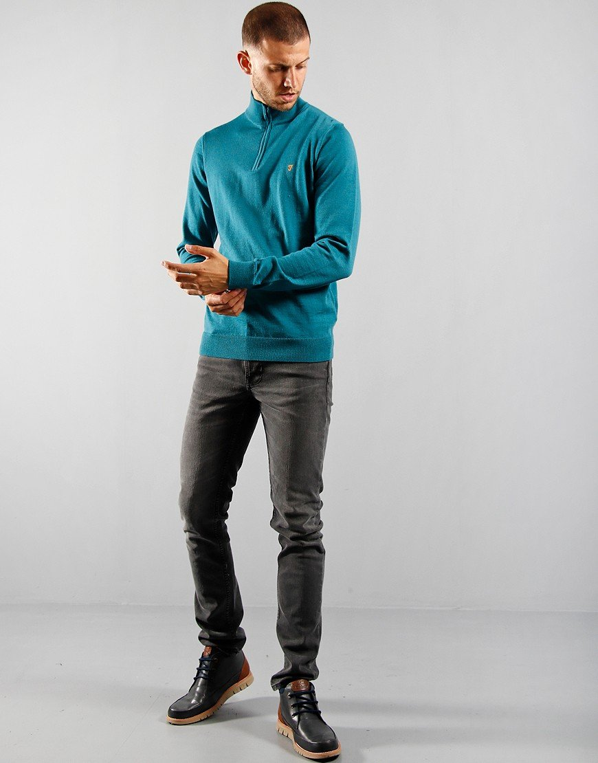 Farah Redchurch Half Zip Knit Rich Turquoise