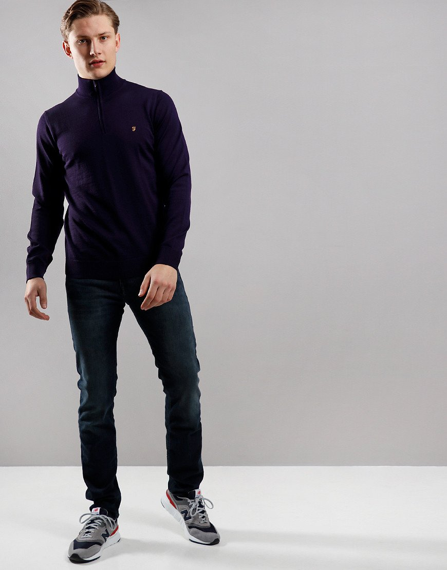 Farah Redchurch Funnel Neck Knit Raisin