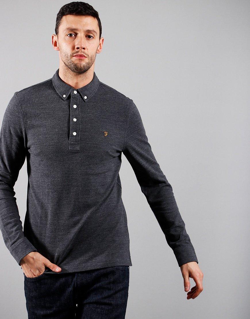 Farah Long Sleeved Ricky Polo Shirt Grey