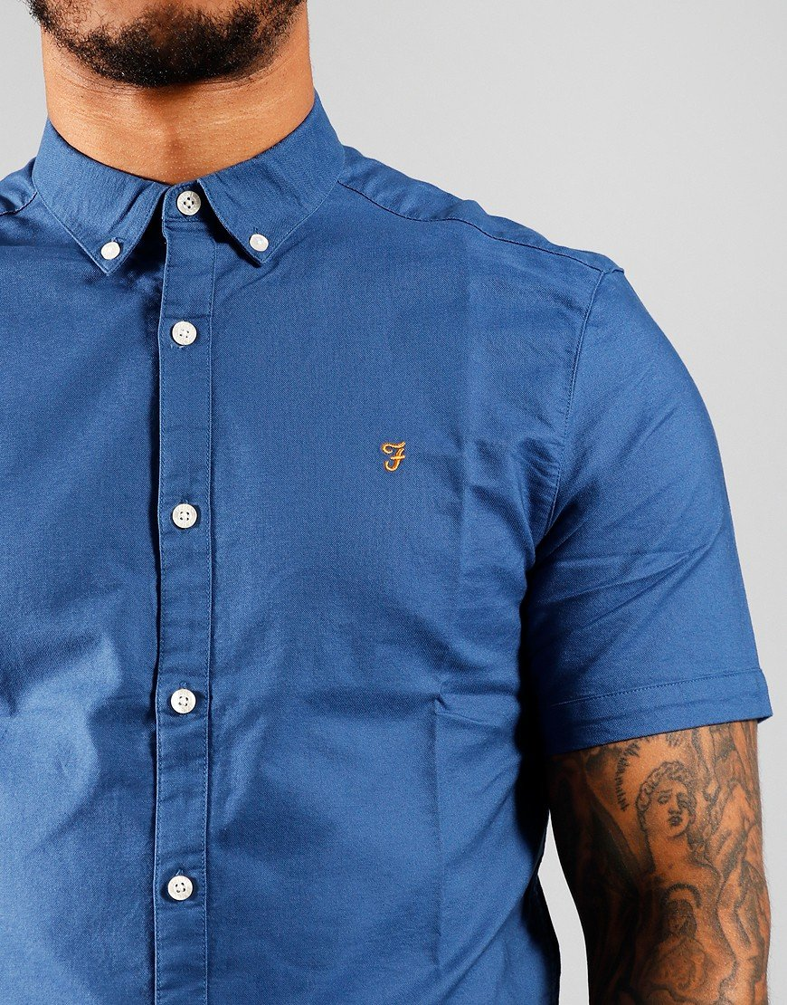 Farah Short Sleeve Brewer Shirt Dusky Blue