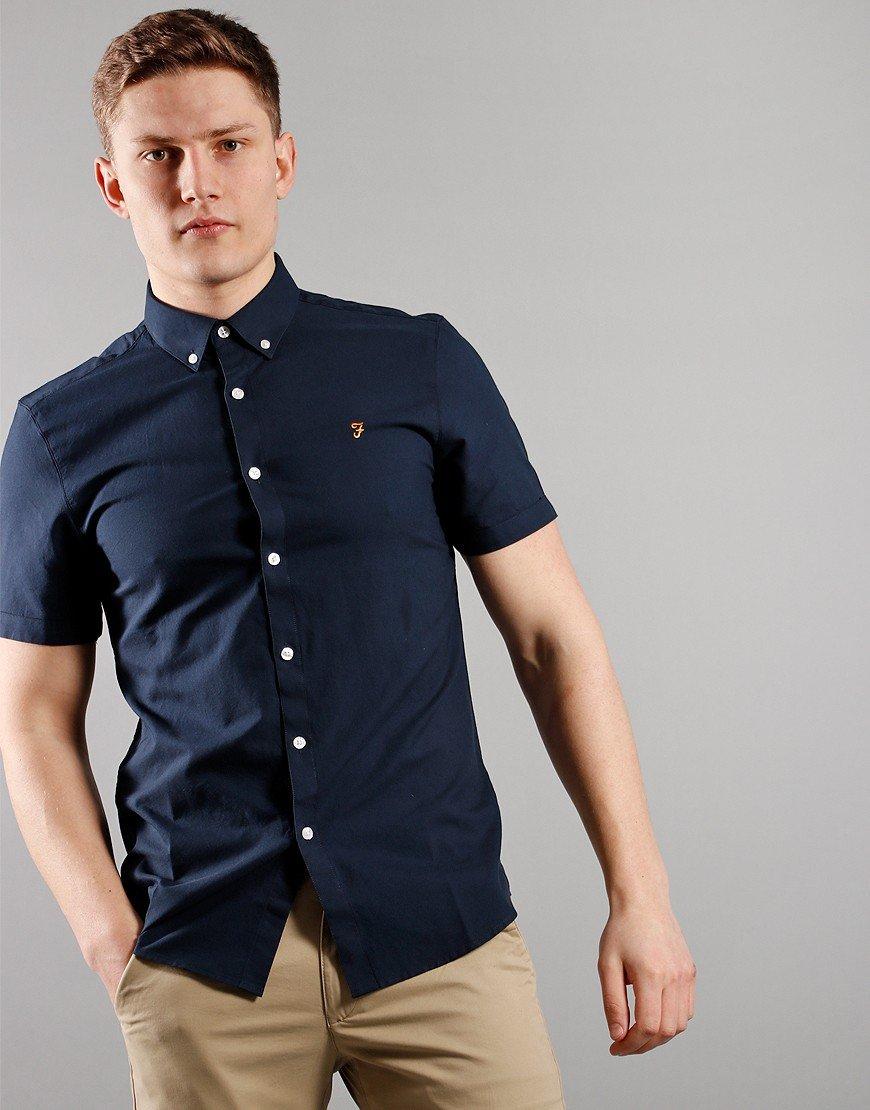 Farah Short Sleeved Brewer Slim Fit Shirt Navy