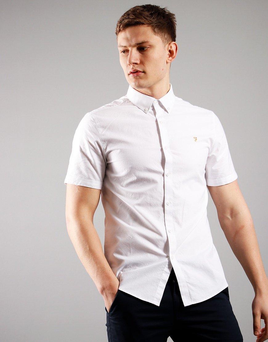 Farah Short Sleeved Brewer Slim Fit Shirt White