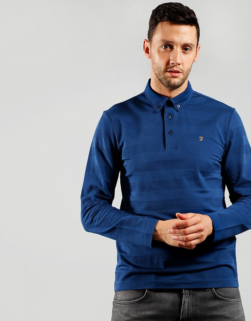 Farah Stapleton Long Sleeve Polo Shirt Ultramarine