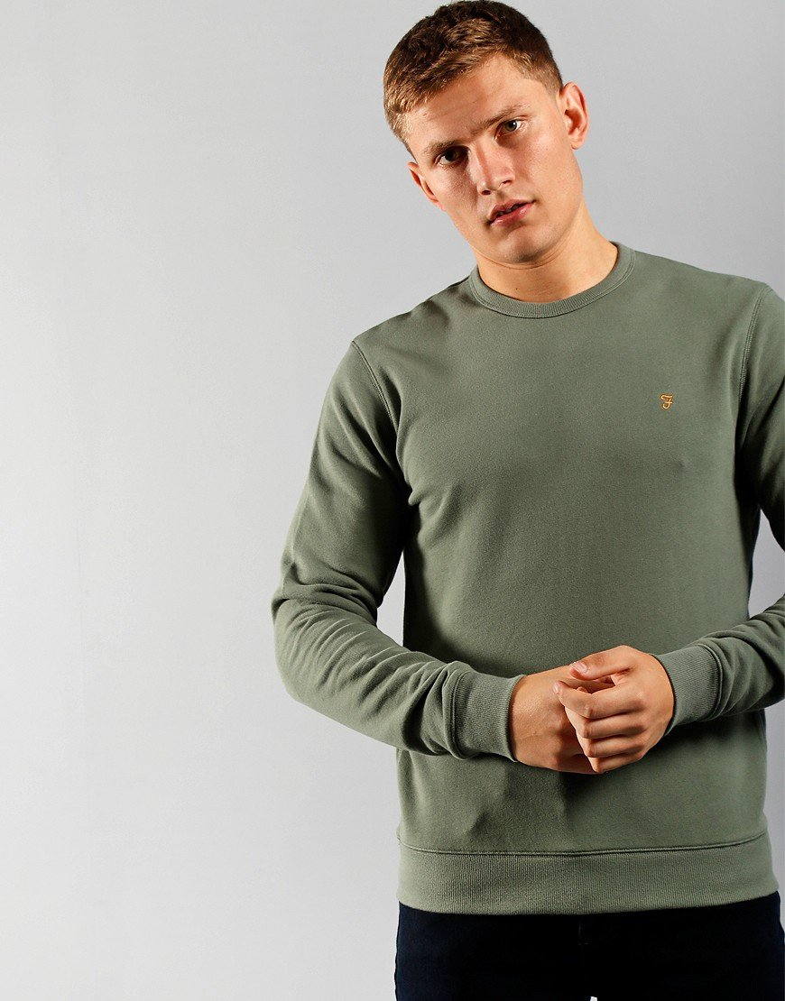 Farah Tim Crew Neck Sweat Fern Green