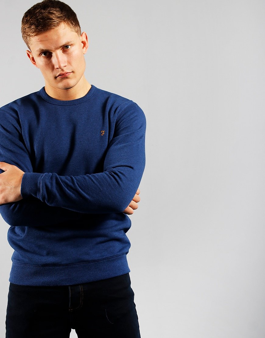 Farah Tim Crew Neck Sweat Ultramarine Marl