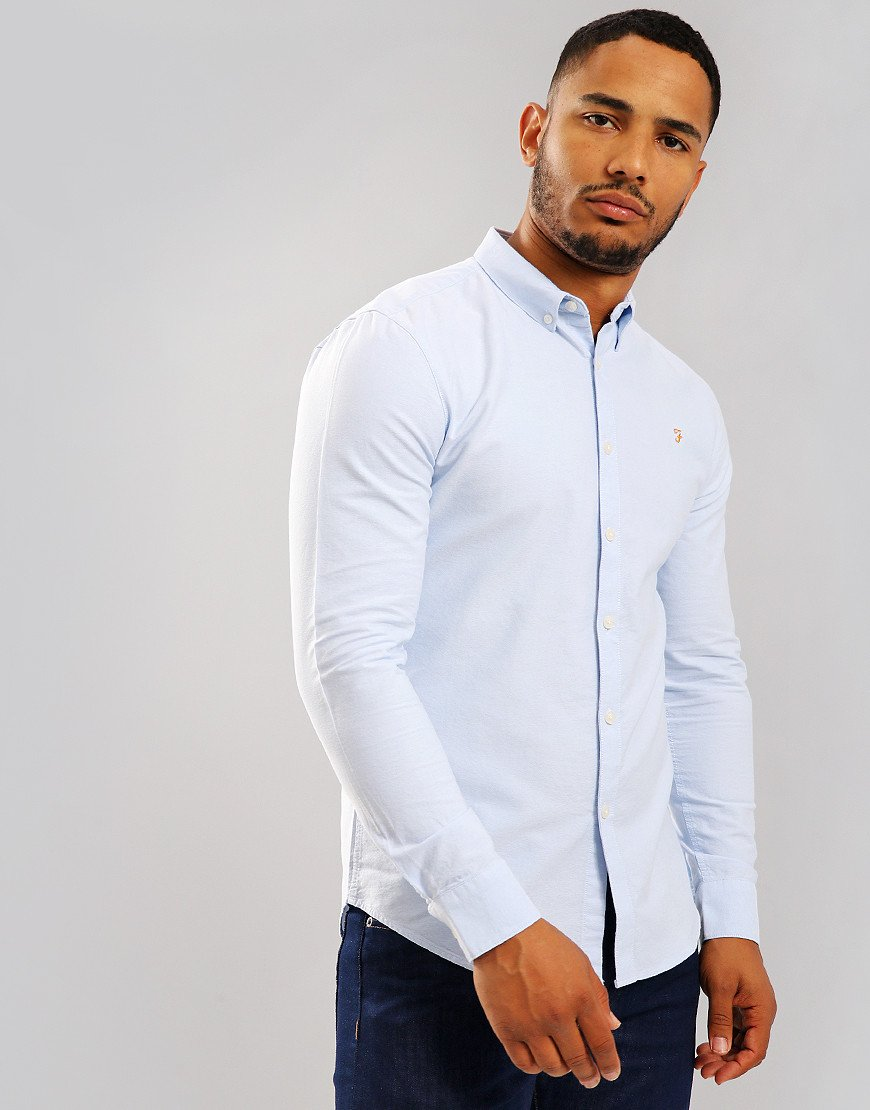 Farah Brewer Long Sleeve Shirt Sky Blue