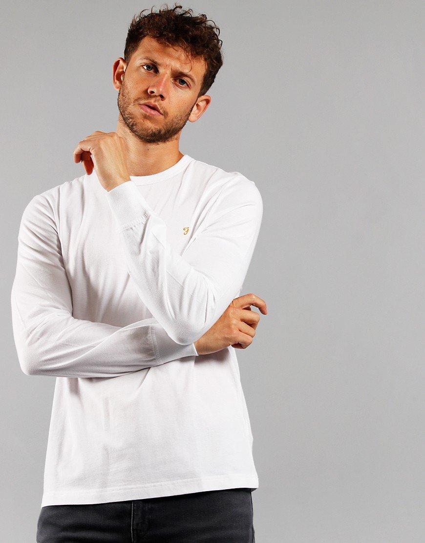 Farah Long Sleeve Worth T-Shirt White