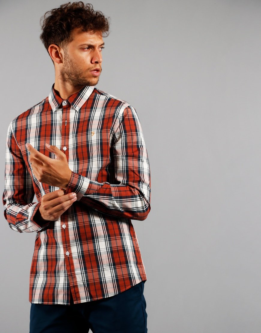 Farah Long Sleeve Brewer Shirt Tartan Russet