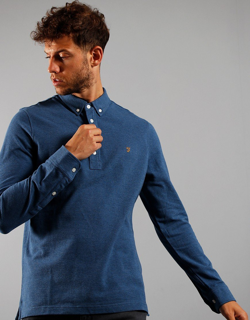 Farah Long Sleeve Ricky Polo Shirt Dusky Blue Marl