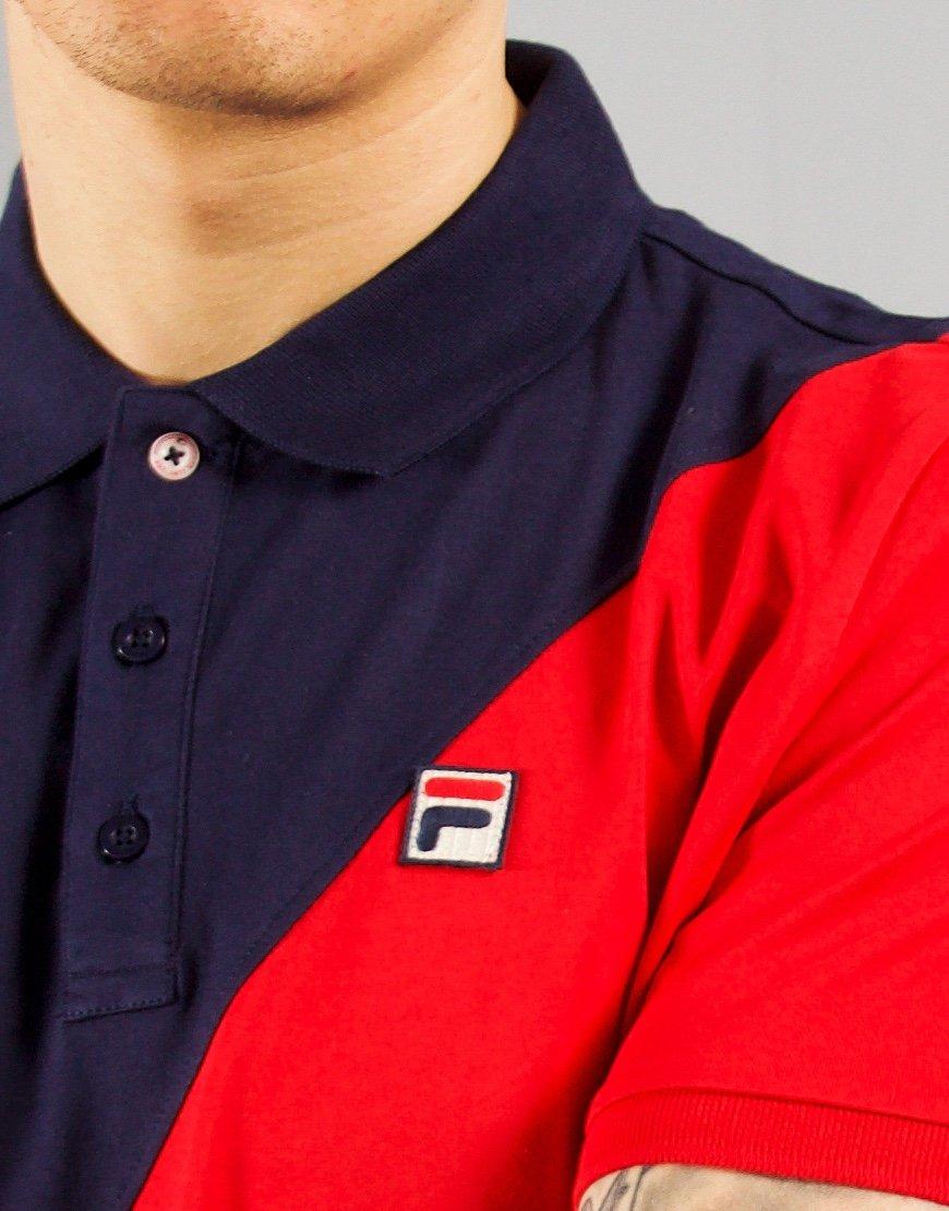 FILA Vintage Anton Polo Shirt Peacoat/Chinese Red