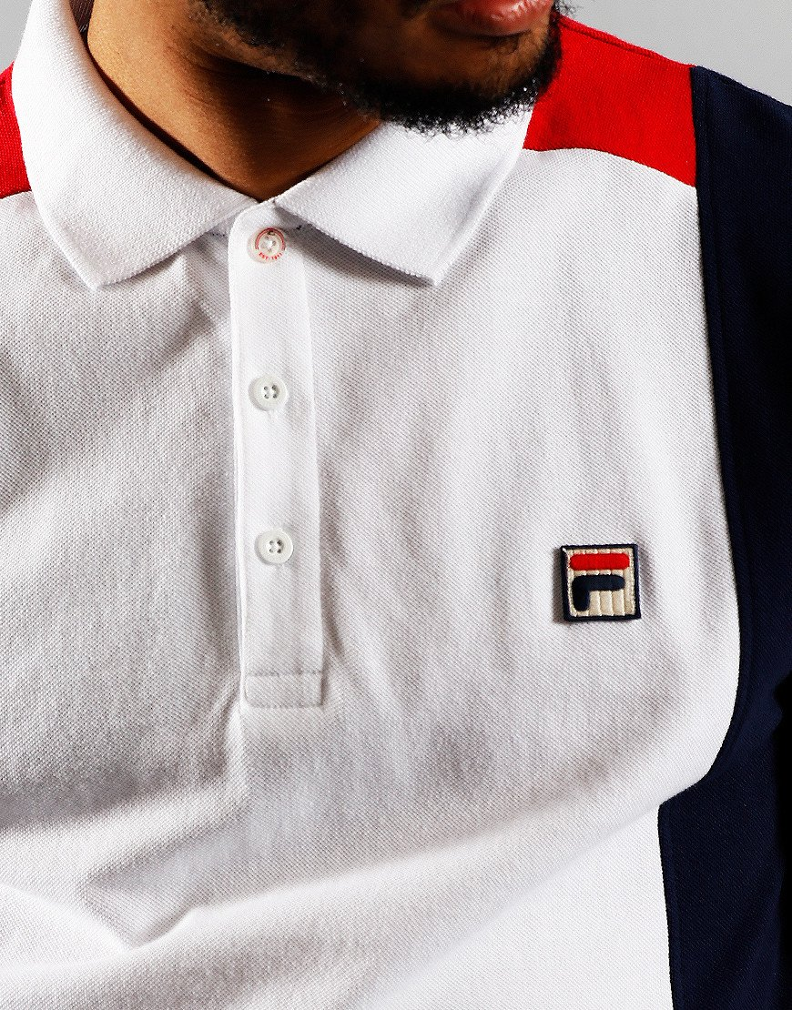 FILA Vintage Apache Polo Shirt White/Peacoat/Chinese Red