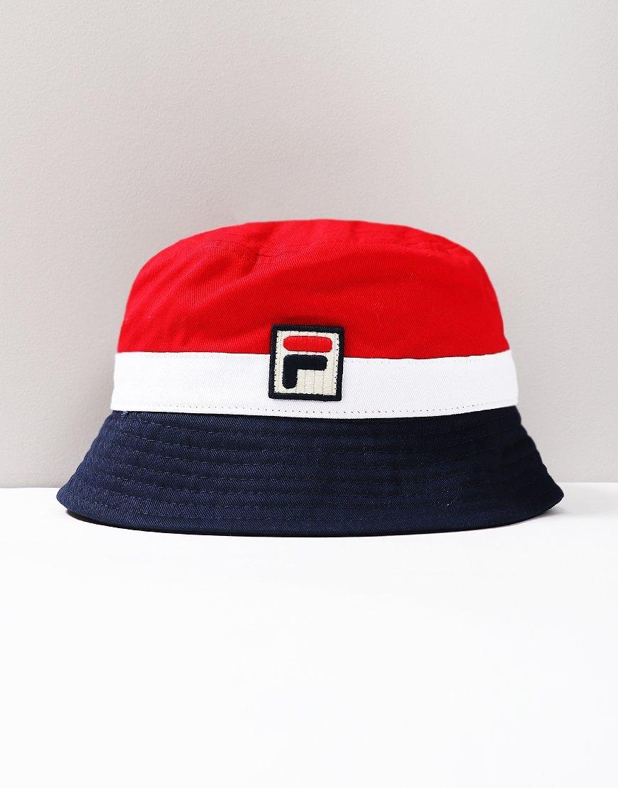 Fila Vintage Basil Bucket Hat White/Peacoat/Chinese Red