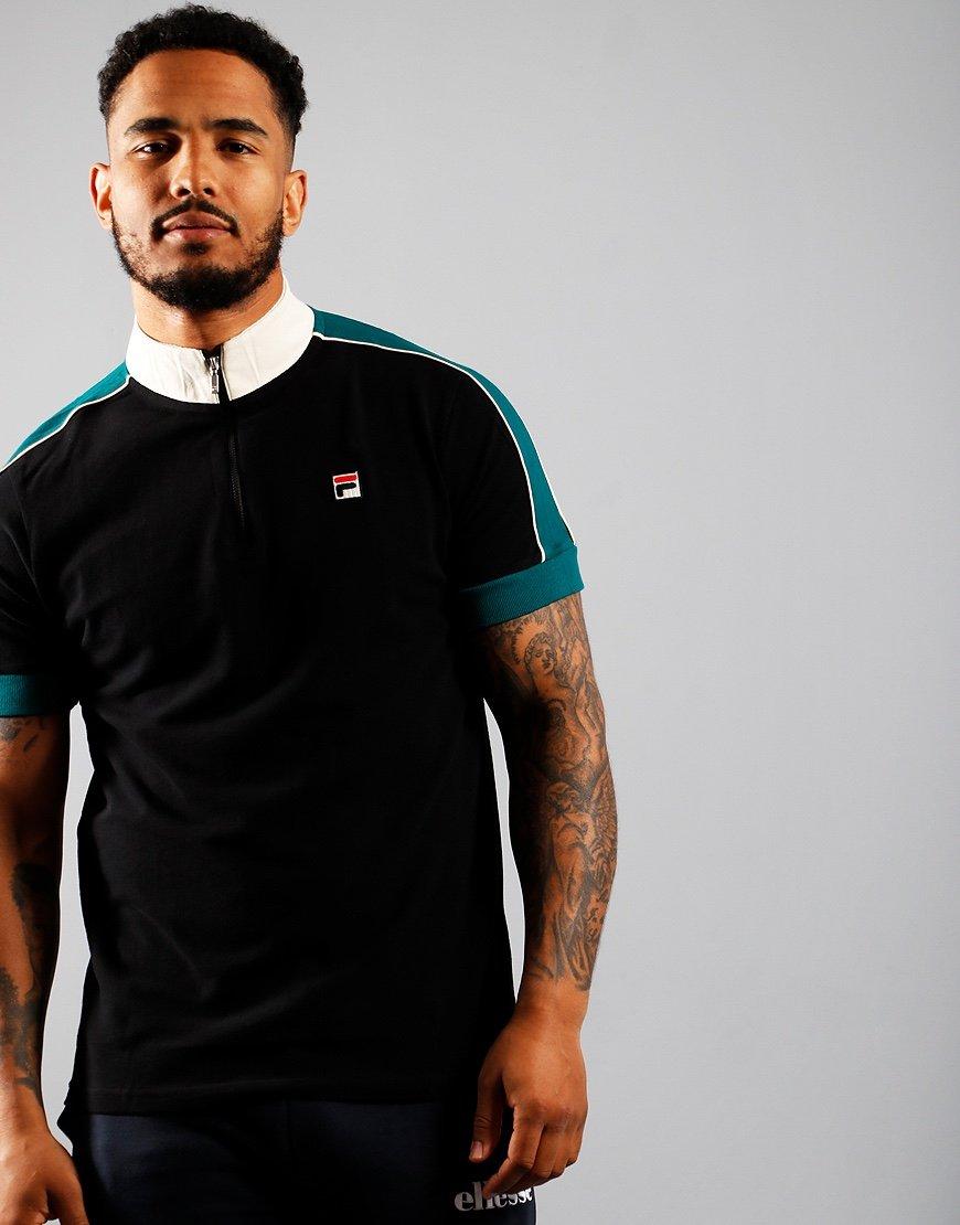 FILA Vintage Parrini Zipped T-Shirt Black/Storm