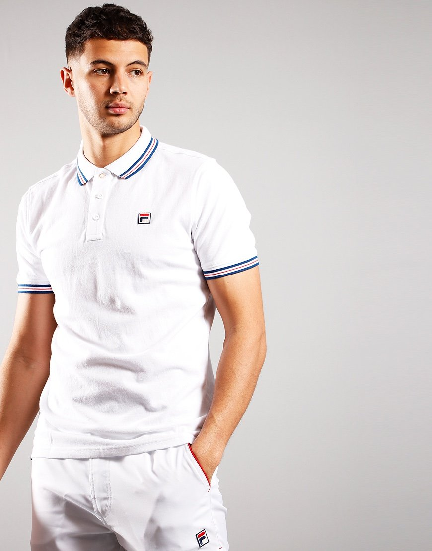 Fila Vintage Prime Tipped Polo Shirt White/Peacot/High Risk Red