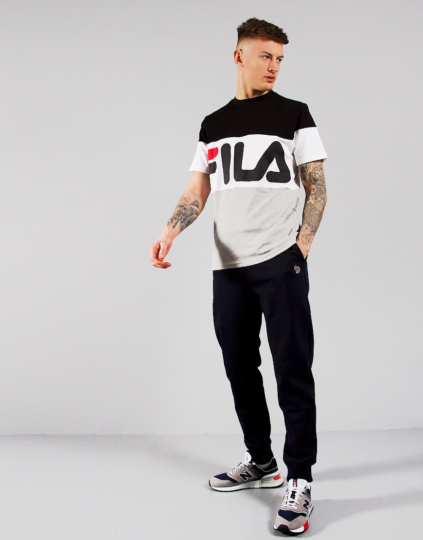 FILA Vintage Vialli T-Shirt Black/Light Grey/Chinese Red