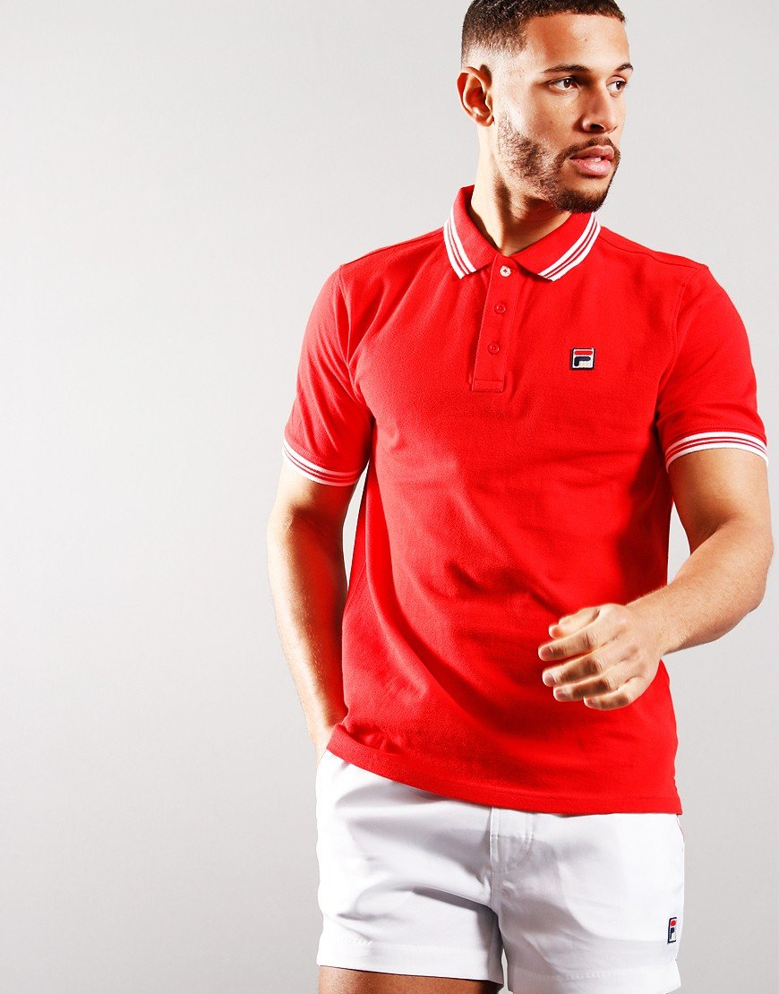 Fila Vintage Prime Tipped Polo Shirt High Risk Red/White