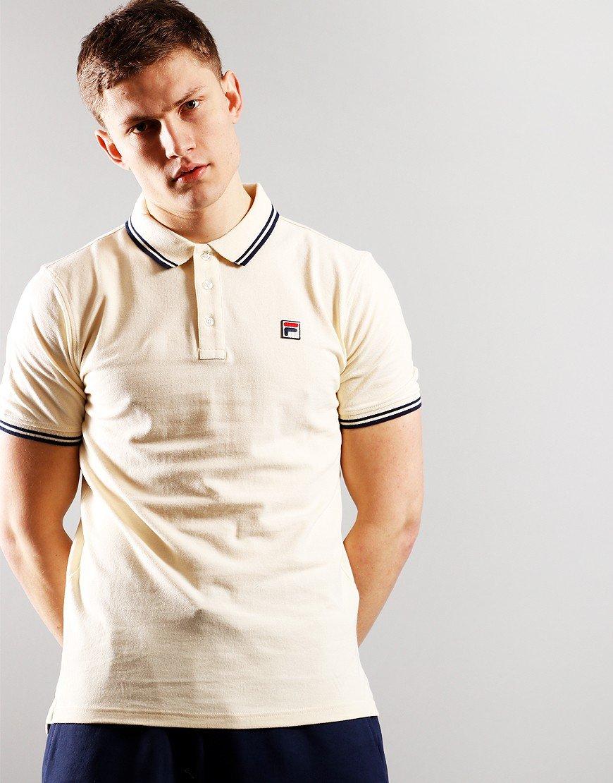 FILA Vinyl Tipped Polo Shirt Seed Pearl