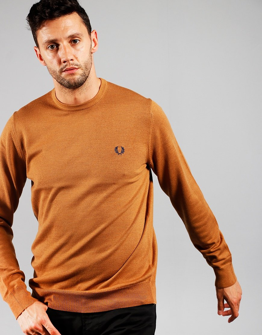 Fred Perry Crew Neck Jumper Caramel