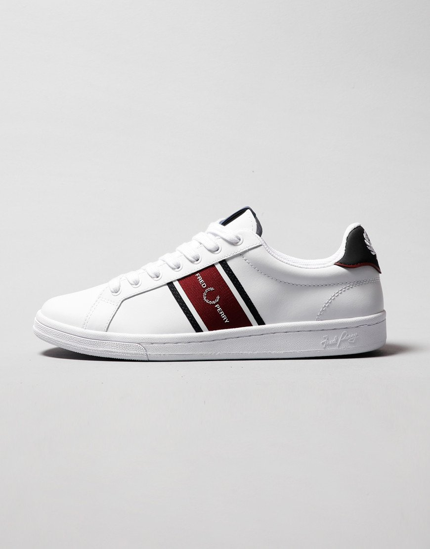 Fred Perry B721 Leather Plimsolls White