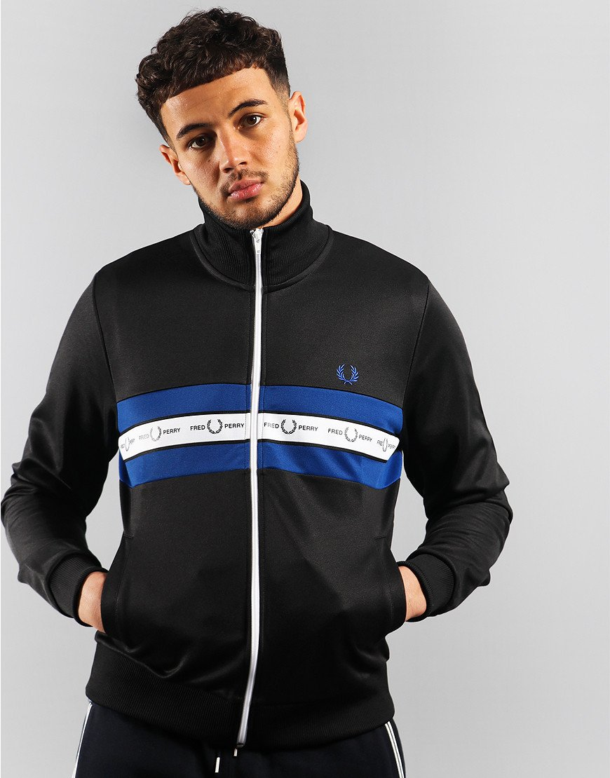 Fred Perry Taped Chest Track Jacket Black