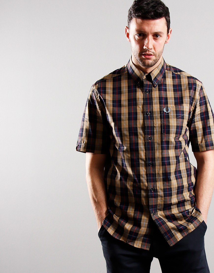 Fred Perry Short Sleeve Checked Shirt Navy