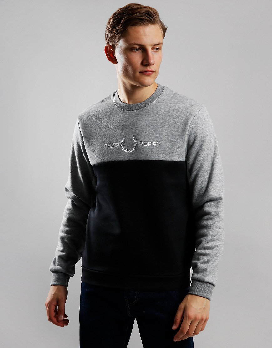 Fred Perry Colour Block Graphic Print Sweat Steel Marl