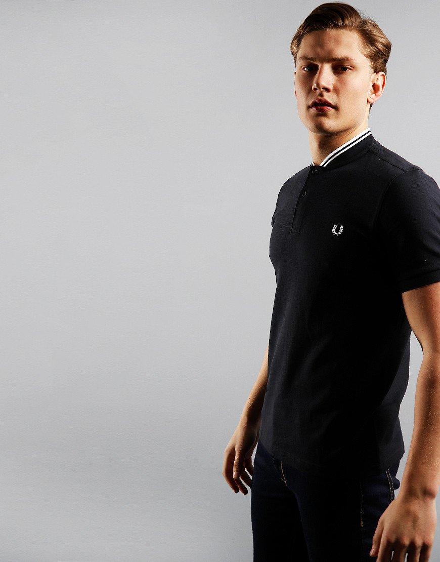 Fred Perry Bomber Collar Piqué Polo Shirt Black